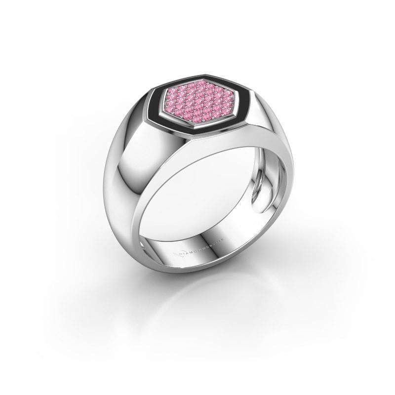 Heren ring Kris 585 witgoud roze saffier 1.1 mm