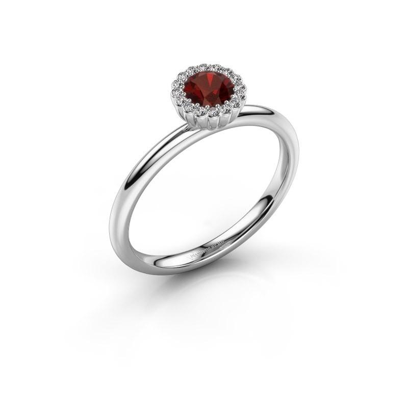 Engagement ring Queen 585 white gold garnet 4.2 mm