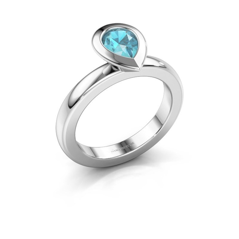 Stapelring Trudy Pear 925 zilver blauw topaas 7x5 mm
