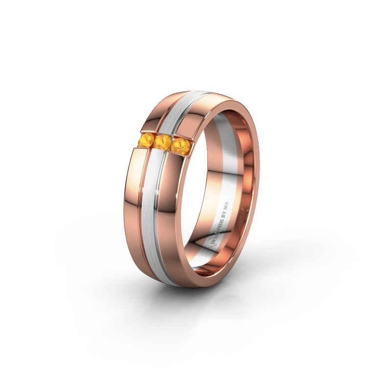 Trauring WH0426L26A 585 Roségold Citrin ±6x1.7 mm