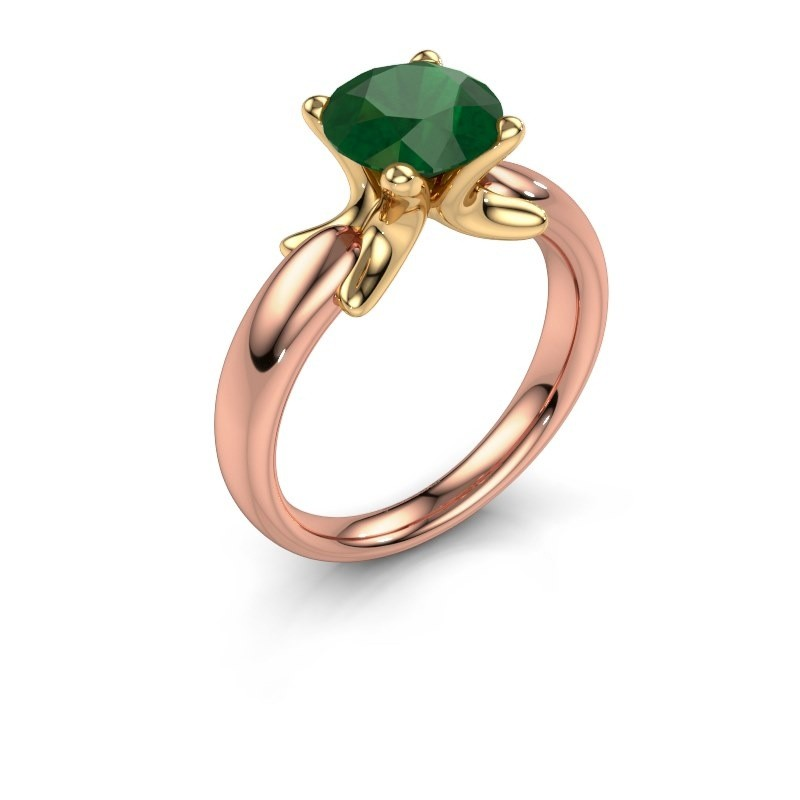 Ring Jodie 585 rose gold emerald 8 mm