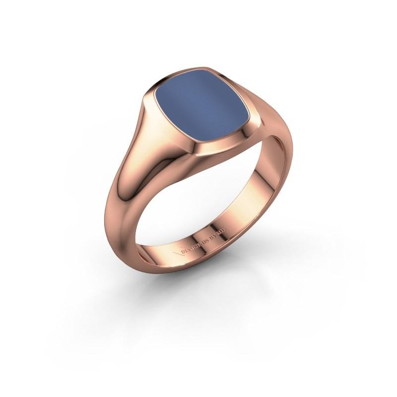 Signet ring Zelda 1 375 rose gold blue sardonyx 10x8 mm