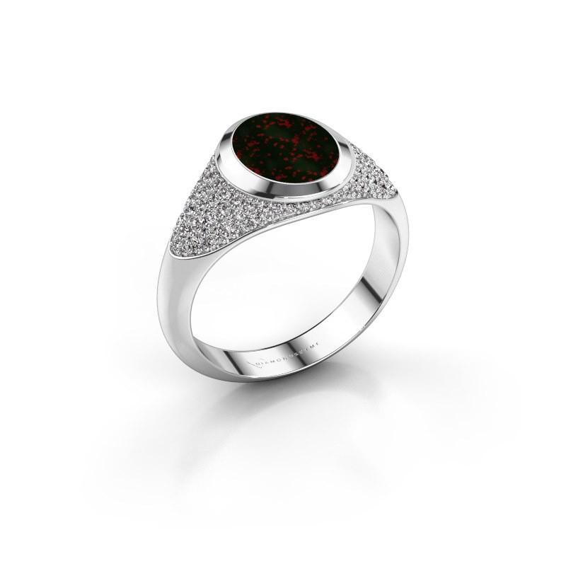 Signet ring Susana 375 white gold bloodstone 10x8 mm