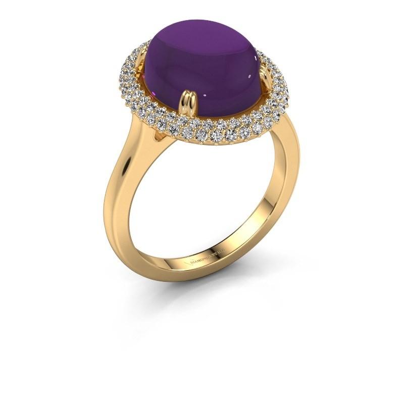 Ring Jayna 585 goud amethist 12x10 mm