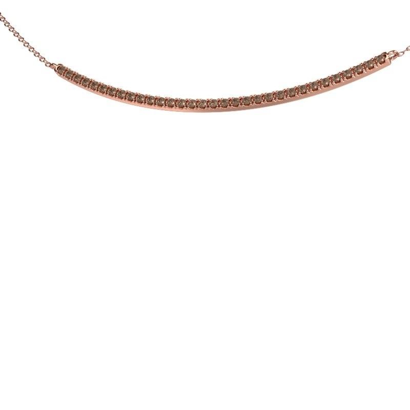 Collier barre Simona 375 or rose diamant brun 0.48 crt