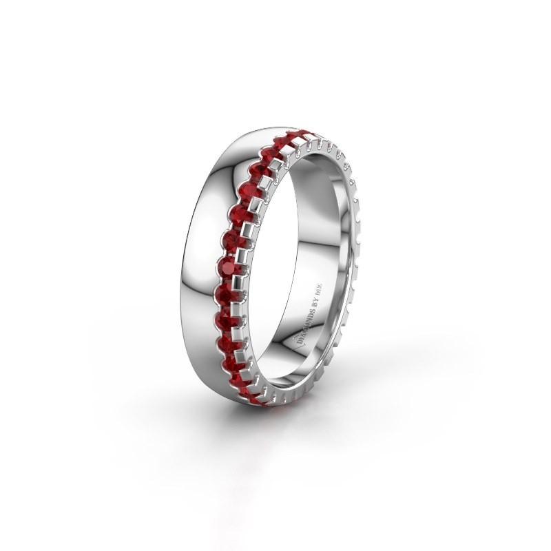 Wedding ring WH6122L25B 925 silver ruby ±5x2 mm
