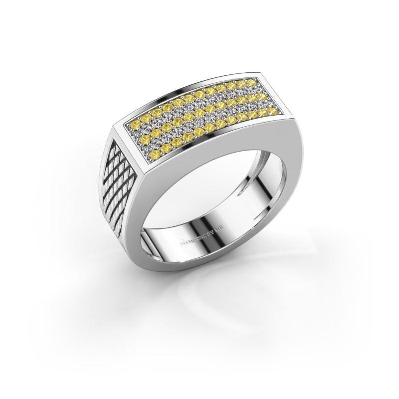 Heren ring Erwin 375 witgoud gele saffier 1.2 mm