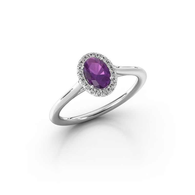 Engagement ring Seline 1 950 platinum amethyst 6x4 mm