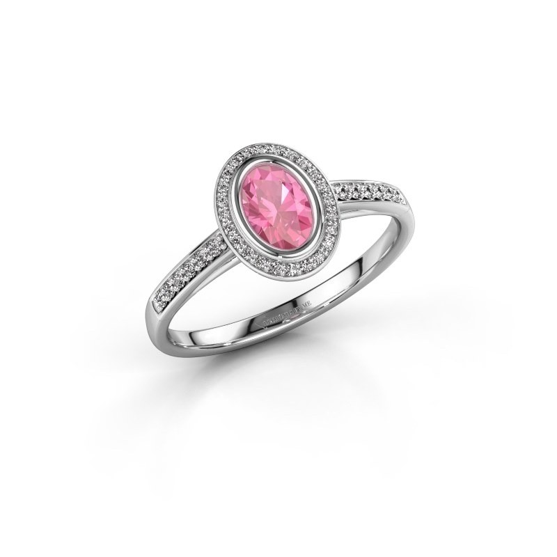 Engagement ring Noud 2 OVL 585 white gold pink sapphire 6x4 mm