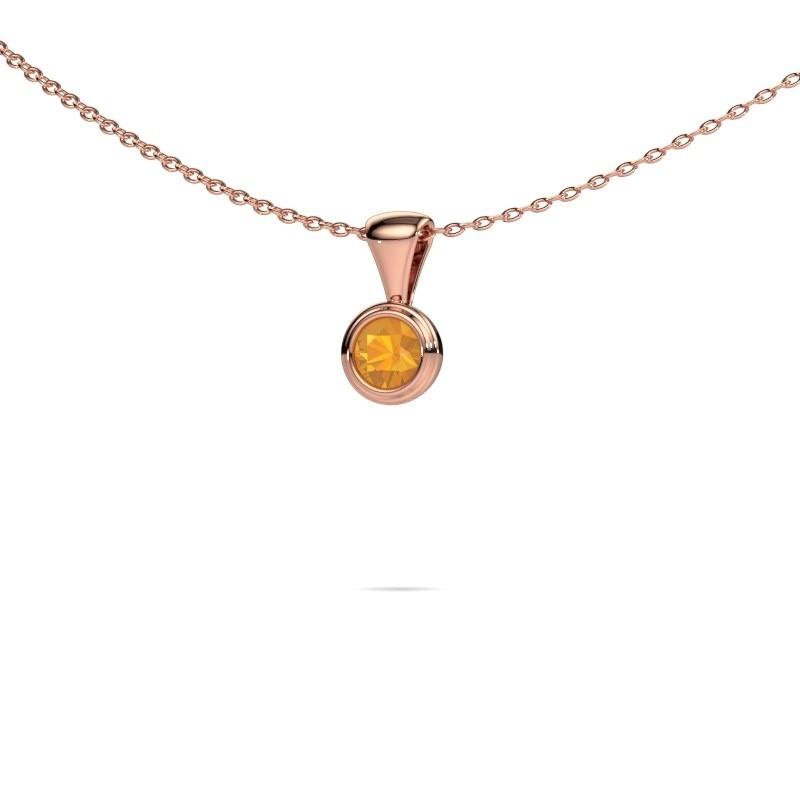 Ketting Lieke 375 rosé goud citrien 4 mm
