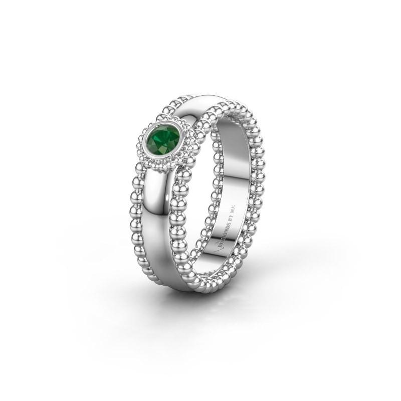 Trouwring WH3053L16A 925 zilver smaragd ±6x1.7 mm