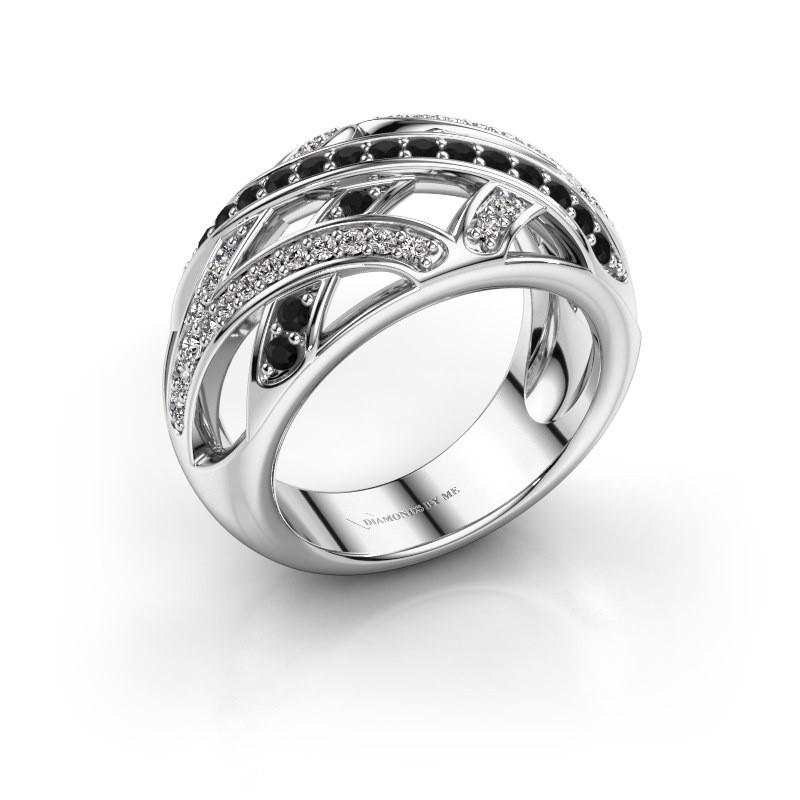 Ring Yinthe 925 zilver zwarte diamant 0.660 crt