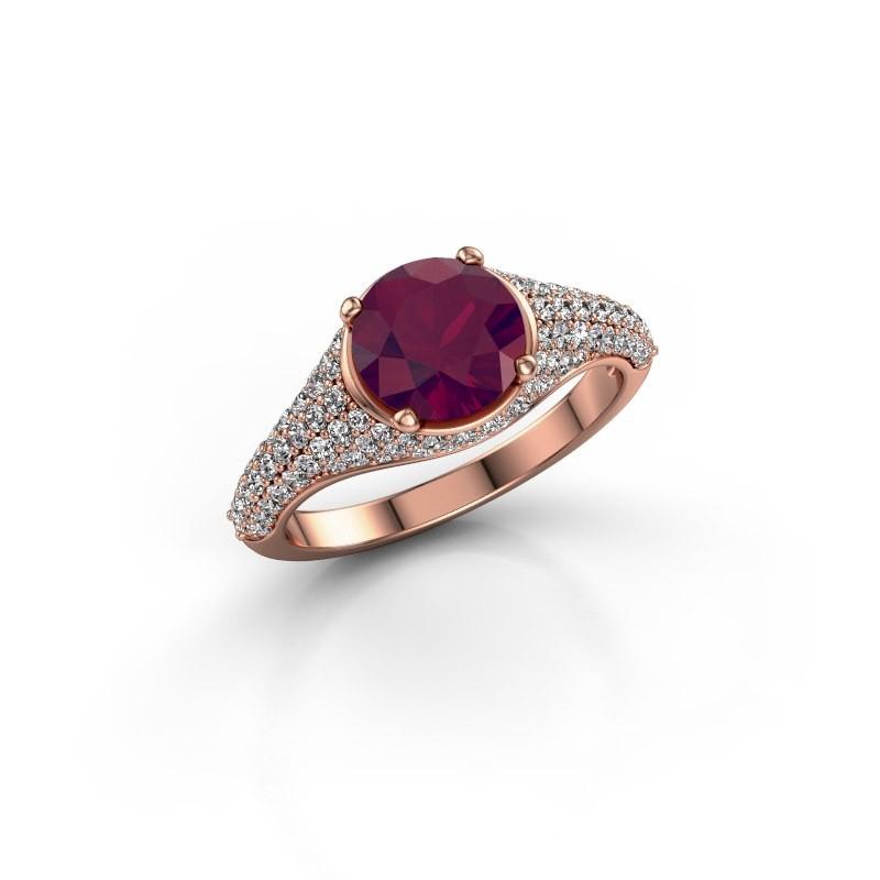 Verlovingsring Lovella 375 rosé goud rhodoliet 7 mm