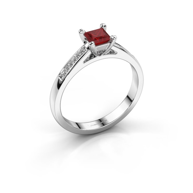 Engagement ring Nynke SQR 925 silver ruby 4 mm