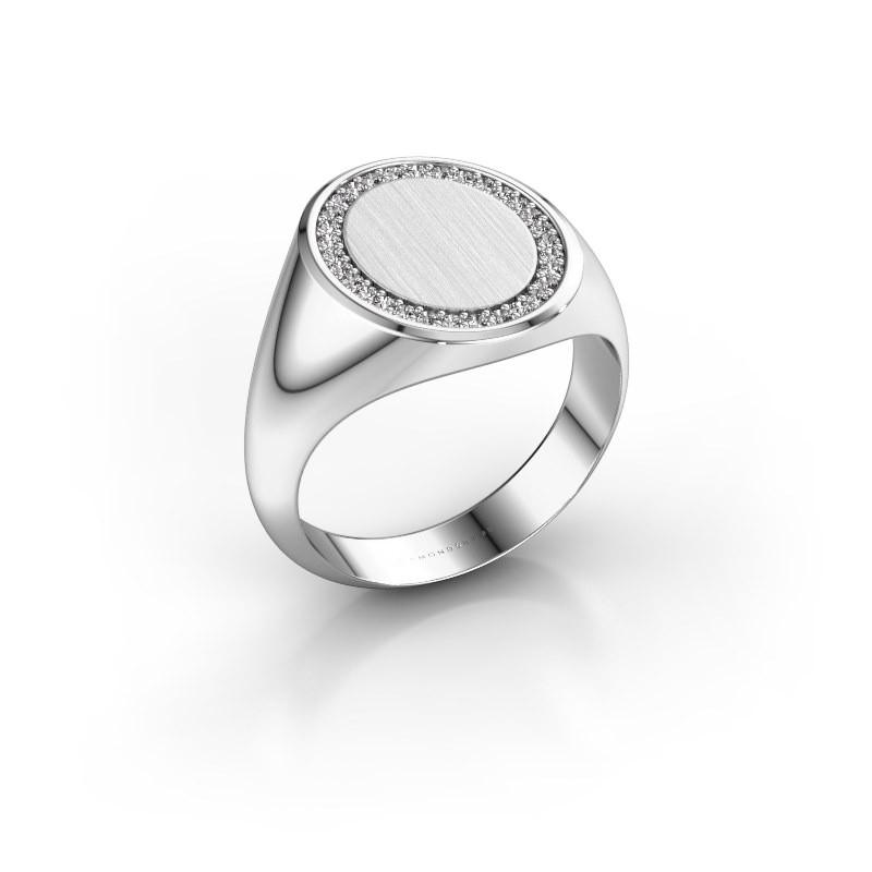Heren ring Floris Oval 4 375 witgoud zirkonia 1.2 mm