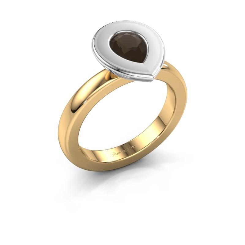 Stapelring Eloise Pear 585 goud rookkwarts 7x5 mm