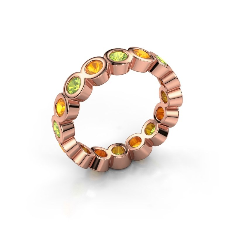 Stackable ring Edwina 3 375 rose gold peridot 3 mm