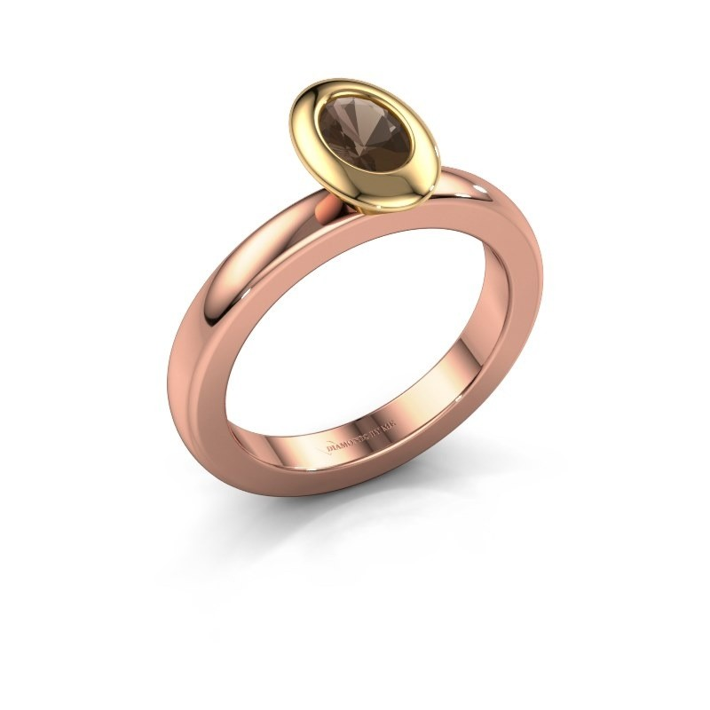 Stapelring Trudy Oval 585 rosé goud rookkwarts 6x4 mm