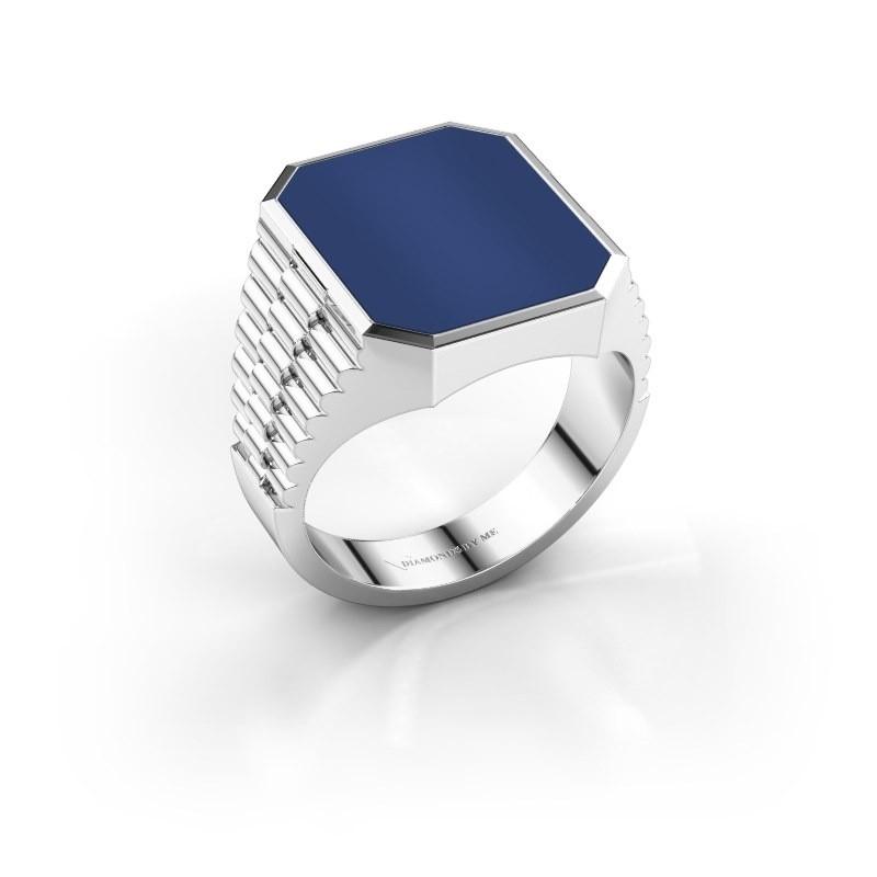 Signet ring Brent 4 585 white gold lapis 16x13 mm