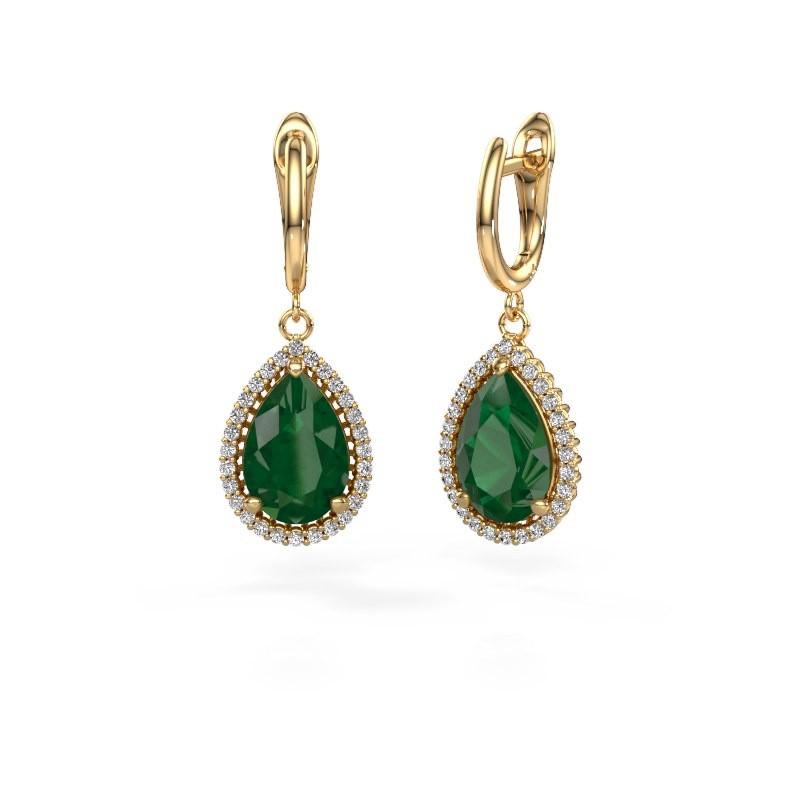 Drop earrings Hana 1 585 gold emerald 12x8 mm