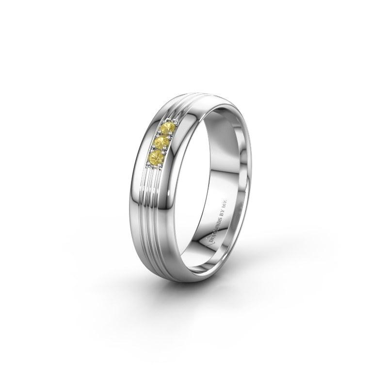 Trouwring WH0405L35X 925 zilver gele saffier ±5x1.5 mm