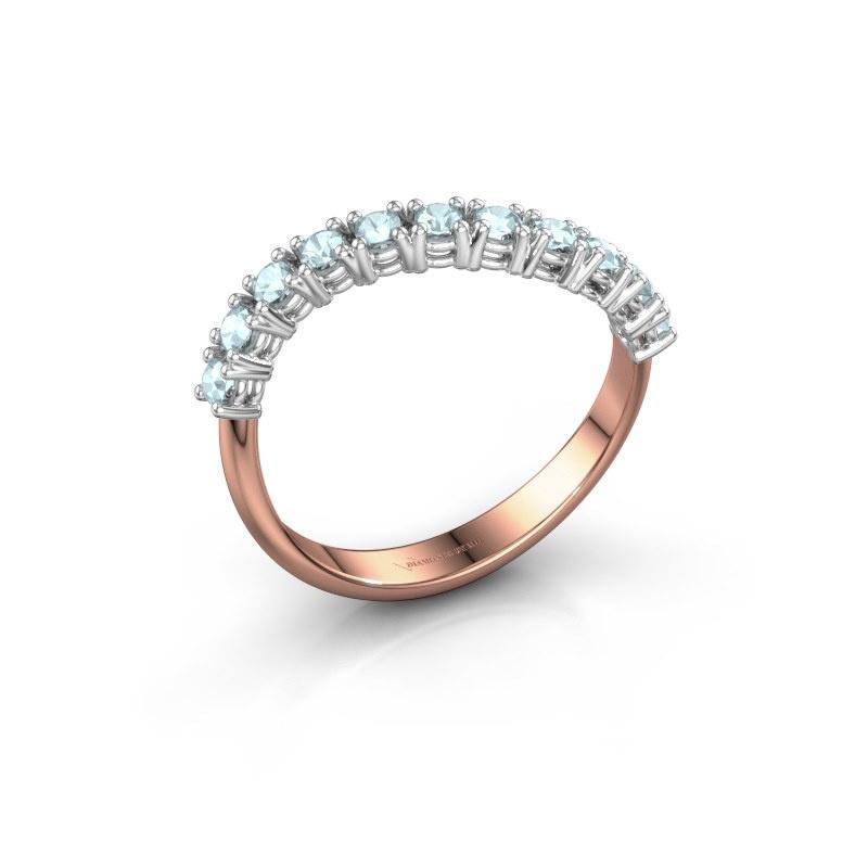 Ring Eliza 585 rosé goud aquamarijn 2 mm