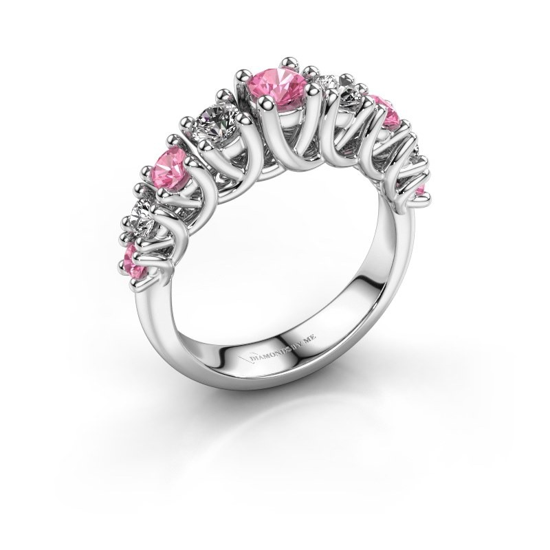 Verlovingsring Fatima 585 witgoud roze saffier 3.7 mm