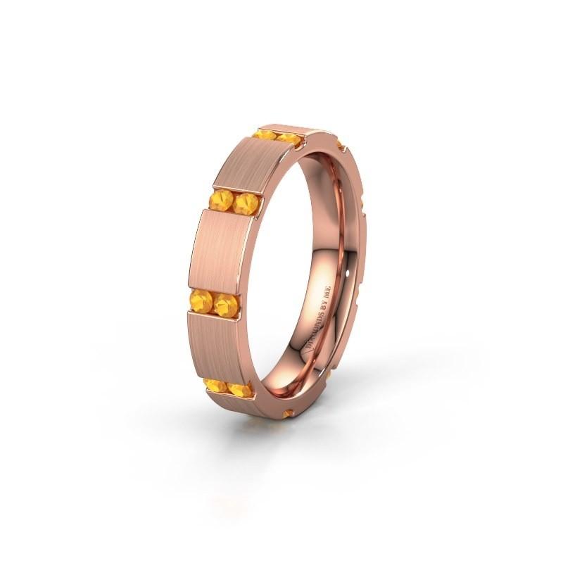 Huwelijksring WH2132L14BM 375 rosé goud citrien ±4x2.2 mm