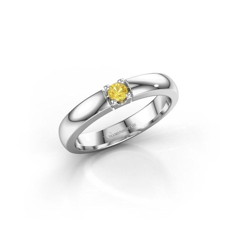 Engagement ring Rianne 1 950 platinum yellow sapphire 3 mm