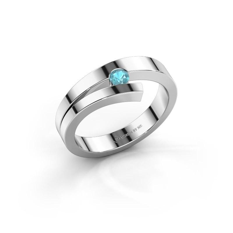 Ring Rosario 925 zilver blauw topaas 3 mm