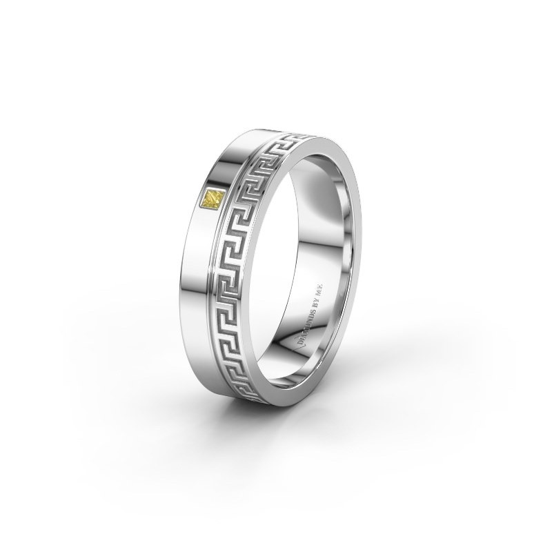 Weddings ring WH0252L24X 925 silver yellow sapphire ±4x1.5 mm