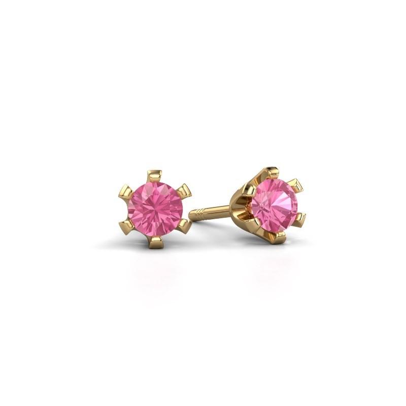 Oorstekers Shana 375 goud roze saffier 4 mm