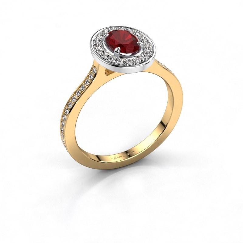 Ring Madelon 2 585 goud robijn 7x5 mm