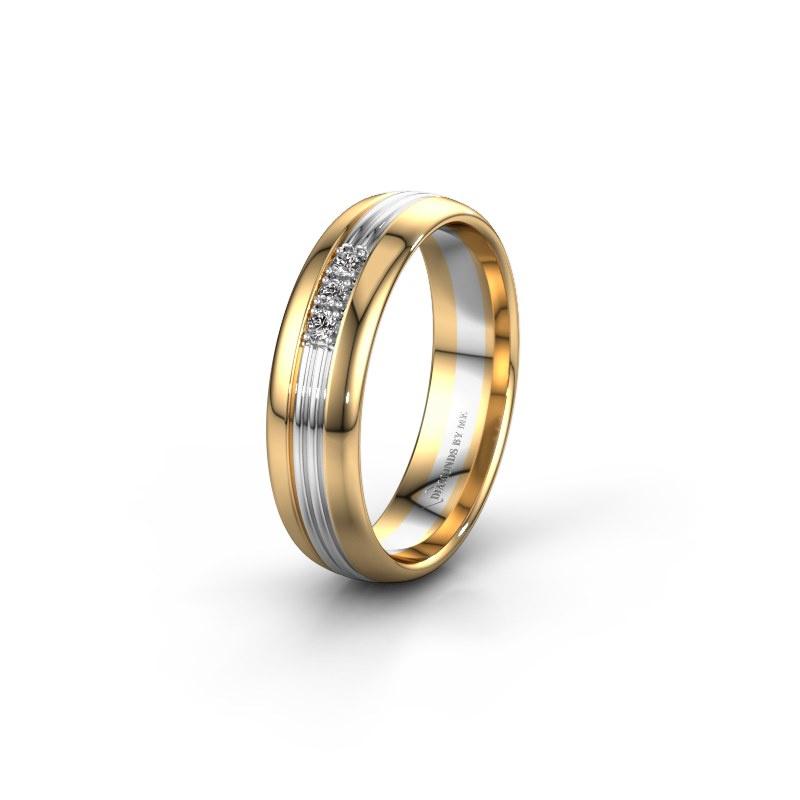 Trouwring WH0405L35X 585 goud lab-grown diamant ±5x1.5 mm