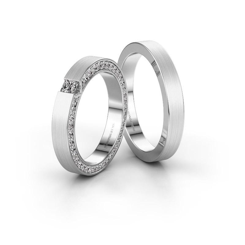 Trouwringen set WH2140LM15B ±5x2 mm 14 karaat witgoud diamant 0.17 crt