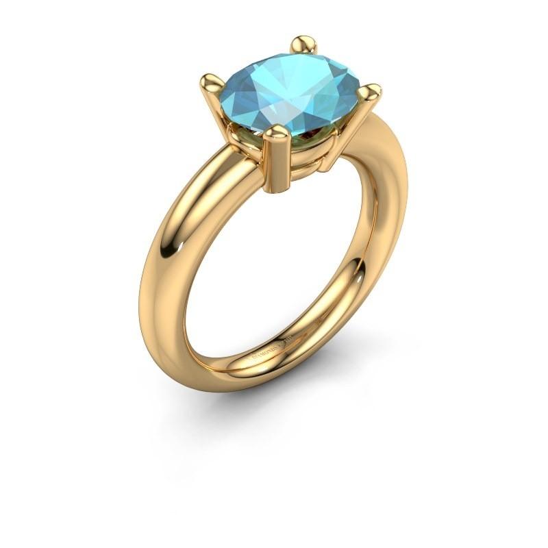 Ring Janiece 585 goud blauw topaas 10x8 mm