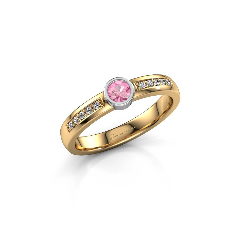 Engagement ring Ise 2 585 gold pink sapphire 3.7 mm