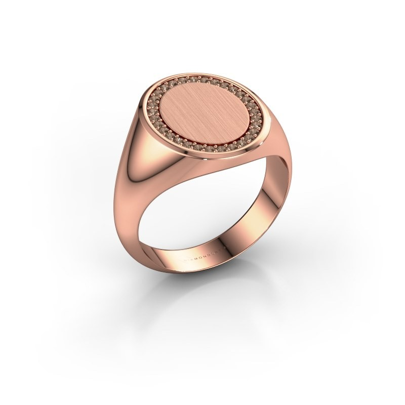 Heren ring Floris Oval 4 375 rosé goud bruine diamant 0.233 crt