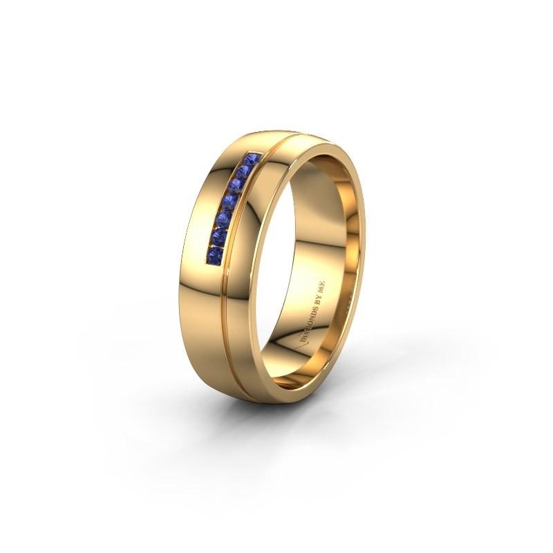 Trouwring WH0308L26AP 585 goud saffier ±6x1.7 mm