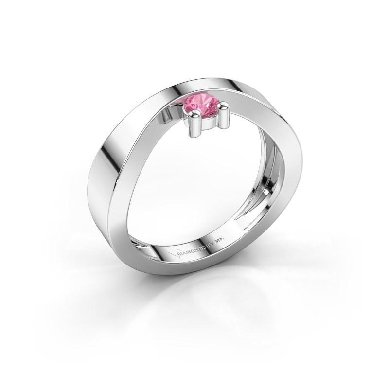 Verlovingsring Elisabeth 950 platina roze saffier 3.4 mm
