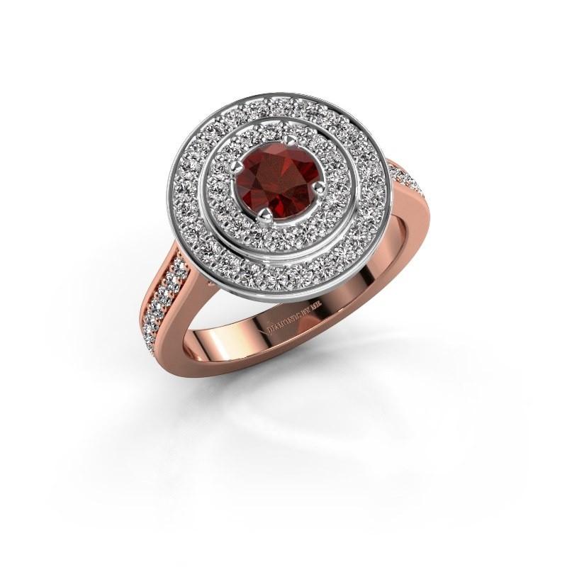 Ring Alecia 2 585 rosé goud granaat 5 mm