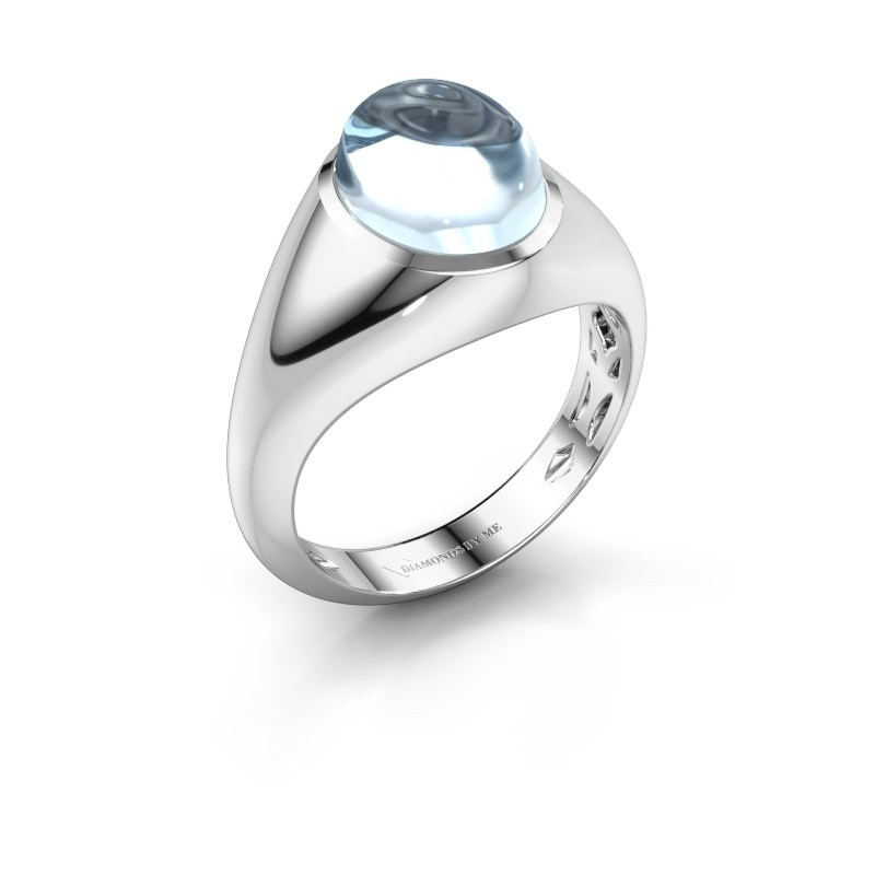Ring Zaza 950 platina aquamarijn 10x8 mm