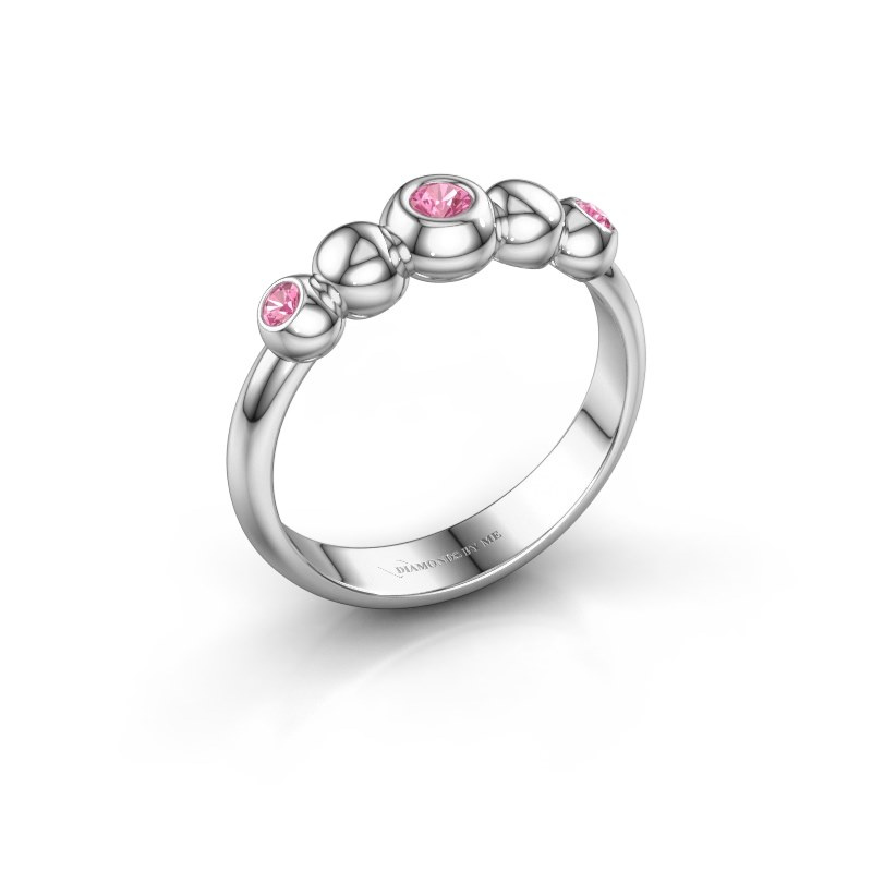 Stackable ring Lily 585 white gold pink sapphire 2.5 mm