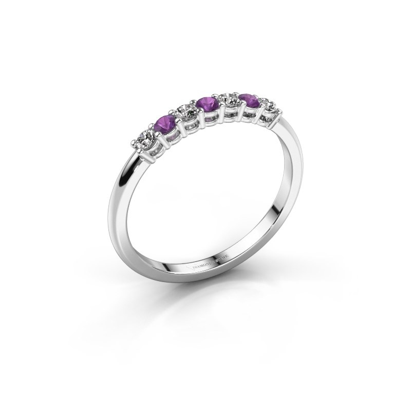 Engagement ring Michelle 7 585 white gold amethyst 2 mm