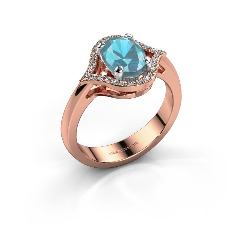 Ring Mendy 585 rosé goud blauw topaas 8x6 mm