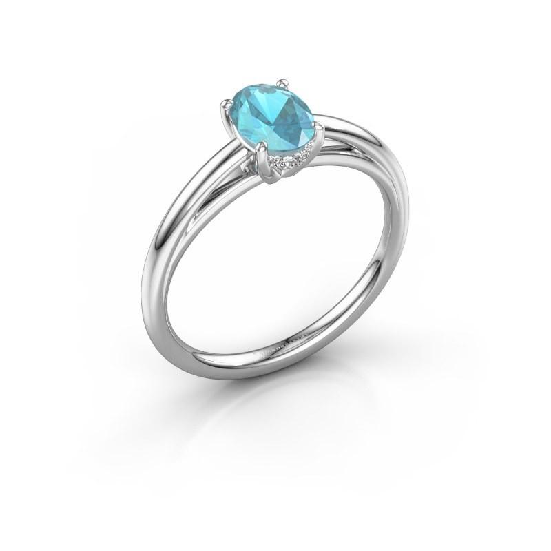 Verlobungsring Haley OVL 1 925 Silber Blau Topas 7x5 mm
