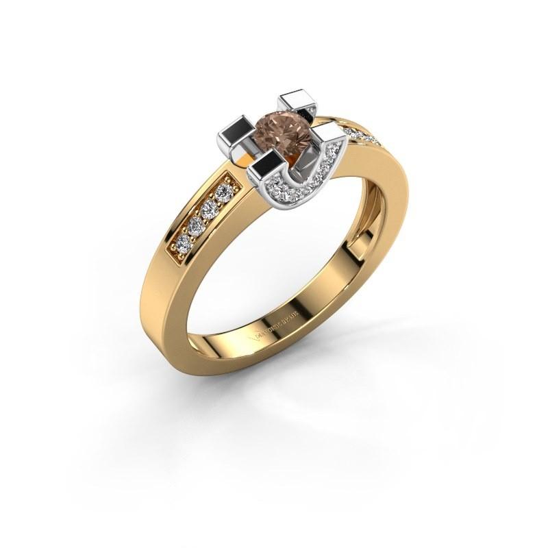 Verlovingsring Jasmijn 2 585 goud bruine diamant 0.41 crt