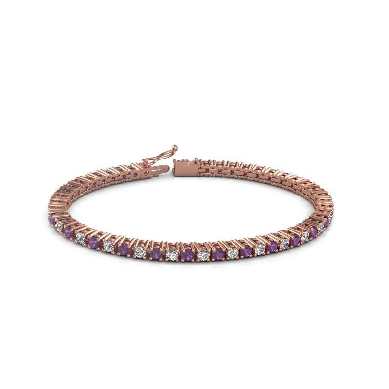 Tennis bracelet Petra 375 rose gold amethyst 3 mm