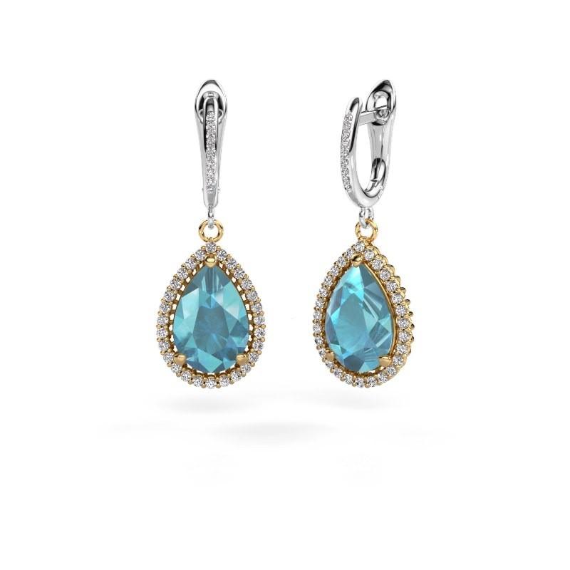 Drop earrings Hana 2 585 gold blue topaz 12x8 mm