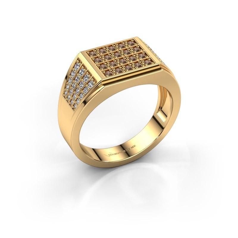 Men's ring Tim 375 gold brown diamond 0.654 crt